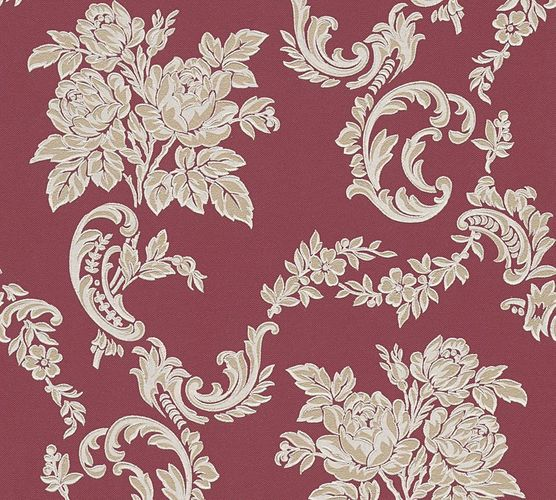 Vinyltapete Ranken Floral bordeaux Glitzer AS 33867-4