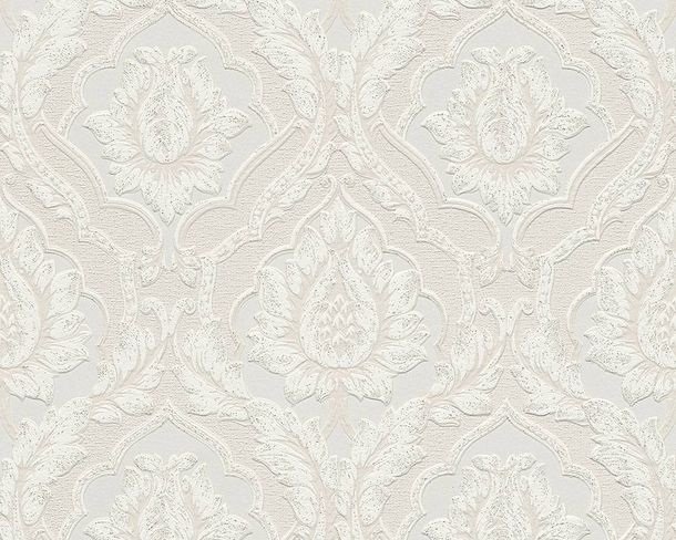 Wallpaper baroque floral silver white gloss AS 3448-16