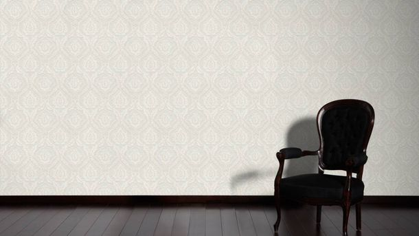 Wallpaper baroque floral silver white gloss AS 3448-16 online kaufen