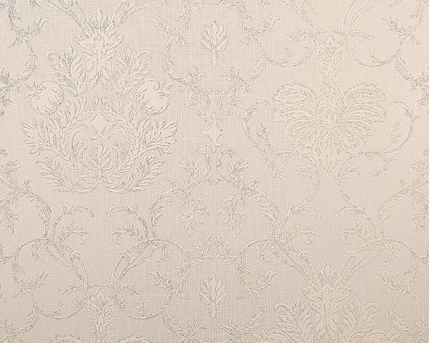 Wallpaper baroque ornaments cream white gloss AS 5380-62