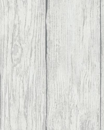 Wallpaper wooden style planks grey white Marburg 57881