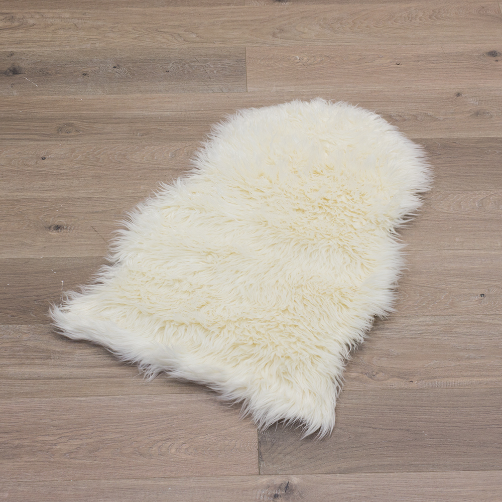 Sheepskin Rug Imitation Sheep Fur Soft White Rose Grey