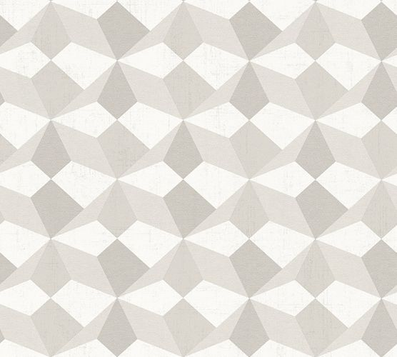 Wallpaper Eco graphic 3D cream silver gloss AS 34133-1
