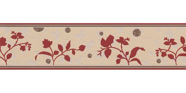 Wallpaper Border Tendril Leaf beige red self-adhesive 2588-23 online kaufen