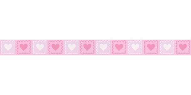 Wallpaper Border Kids Heart rose white self-adhesive 2818-14 online kaufen