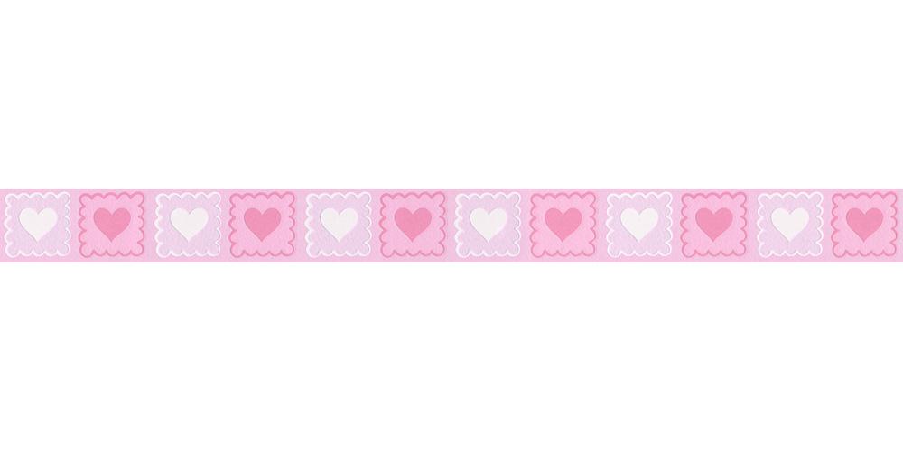 Tapeten Bordüre Kinder Herzen rosa weiß AS 2818-14