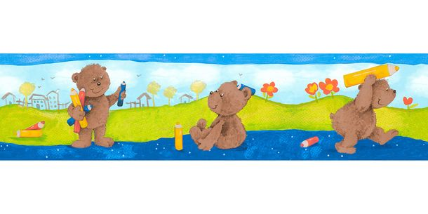 Wallpaper Border Kids Teddy colourful self-adhesive 8960-18 online kaufen