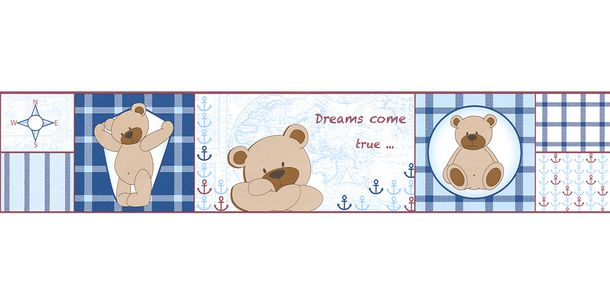 Wallpaper Border Kids Teddy Maps blue brown self-adhesive 8986-16 online kaufen
