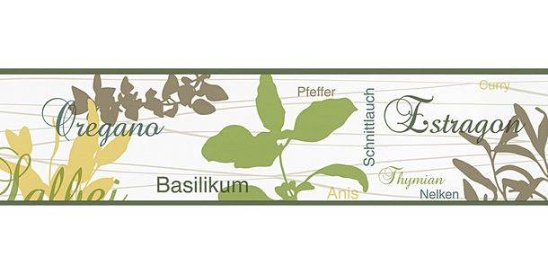 Wallpaper Border Spice Herbal white green self-adhesive 9001-11 online kaufen