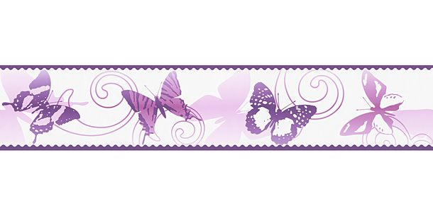 Wallpaper Border Kids Butterfly white pink self-adhesive 9012-24 online kaufen