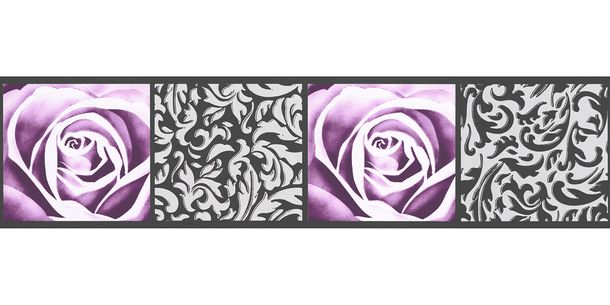 Wallpaper Border Tendril Rose white purple self-adhesive 9019-10 online kaufen