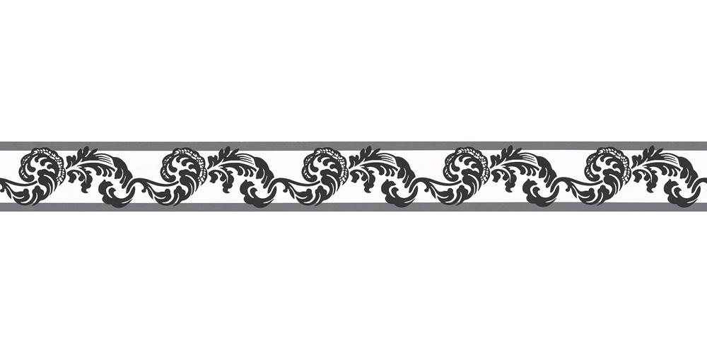 Wallpaper Border Tendril White Black Self Adhesive 9043 17