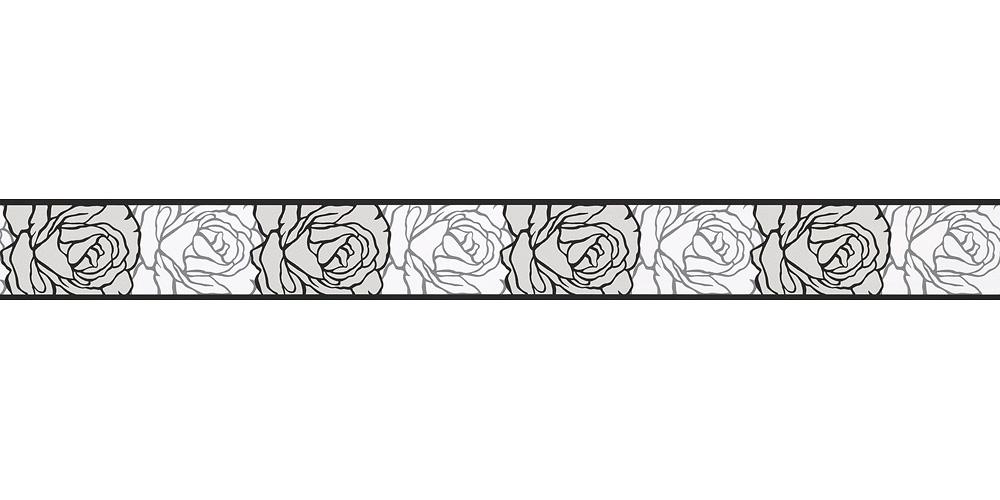 Wallpaper Border Rose White Black Self Adhesive 9050 24