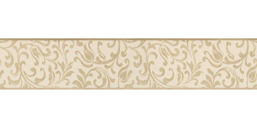 Wallpaper border tendril beige gold gloss self adhesive for Gold self adhesive wallpaper