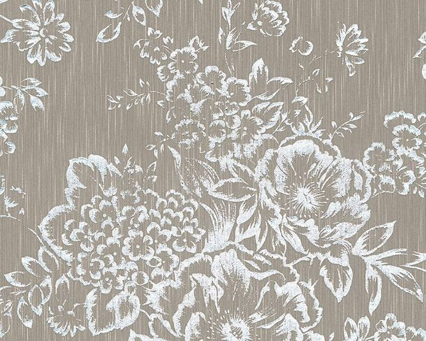 Textile Wallpaper flower taupe silver Architects Paper 30657-4