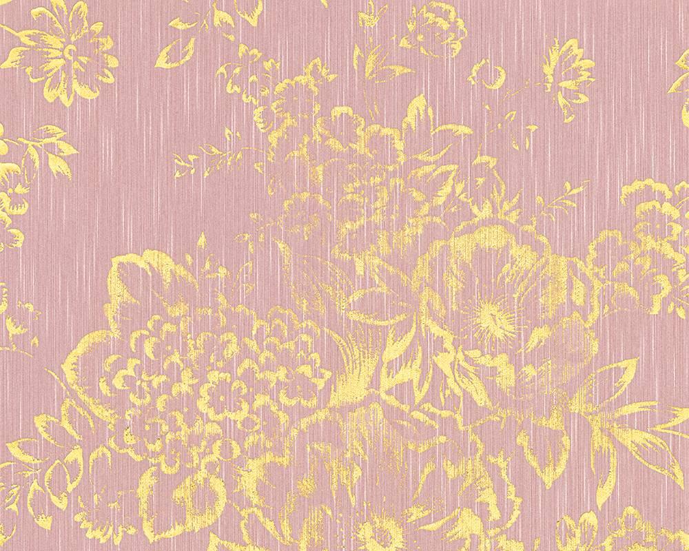 textiltapete blumen rosa gold architects paper 30657 5. Black Bedroom Furniture Sets. Home Design Ideas