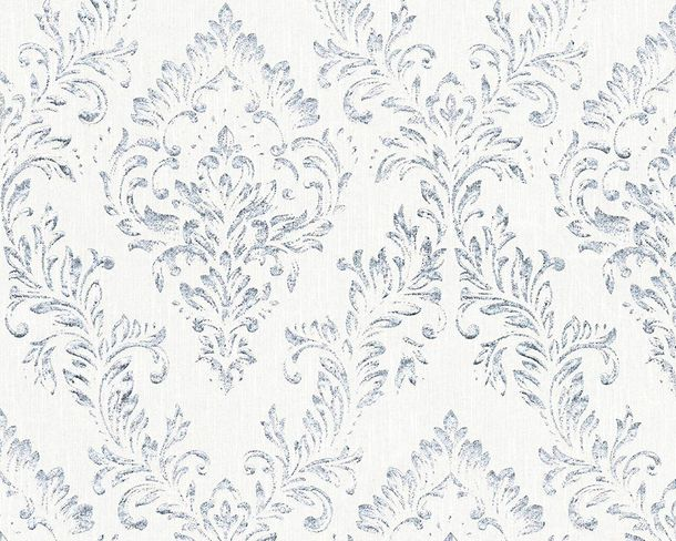 Textile Wallpaper baroque white silver Architects Paper 30659-1