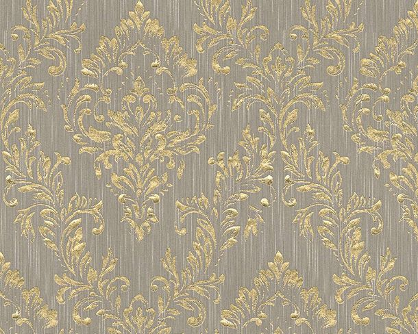 Textile Wallpaper baroque taupe gold Architects Paper 30659-3