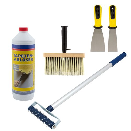 Wallpaper Remover Set Spike Roller Scraper Paste Brush