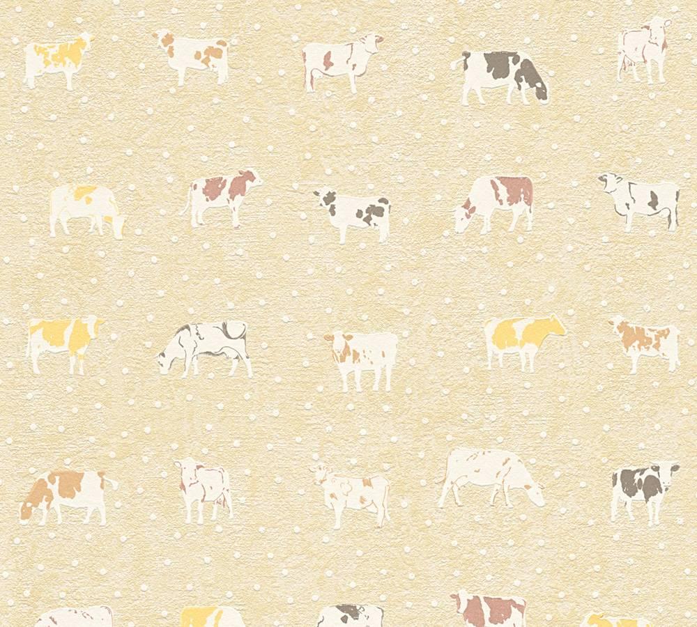 Kitchen wallpaper cow cows nature brown beige 32459 1 for Beige kitchen wallpaper