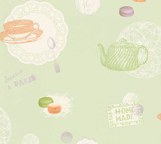 Kitchen Wallpaper shabby chic macarons green beige 32730-1 online kaufen