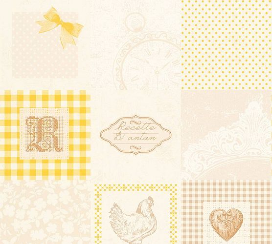 Kitchen Wallpaper cottage cream yellow gloss 32732-2 online kaufen