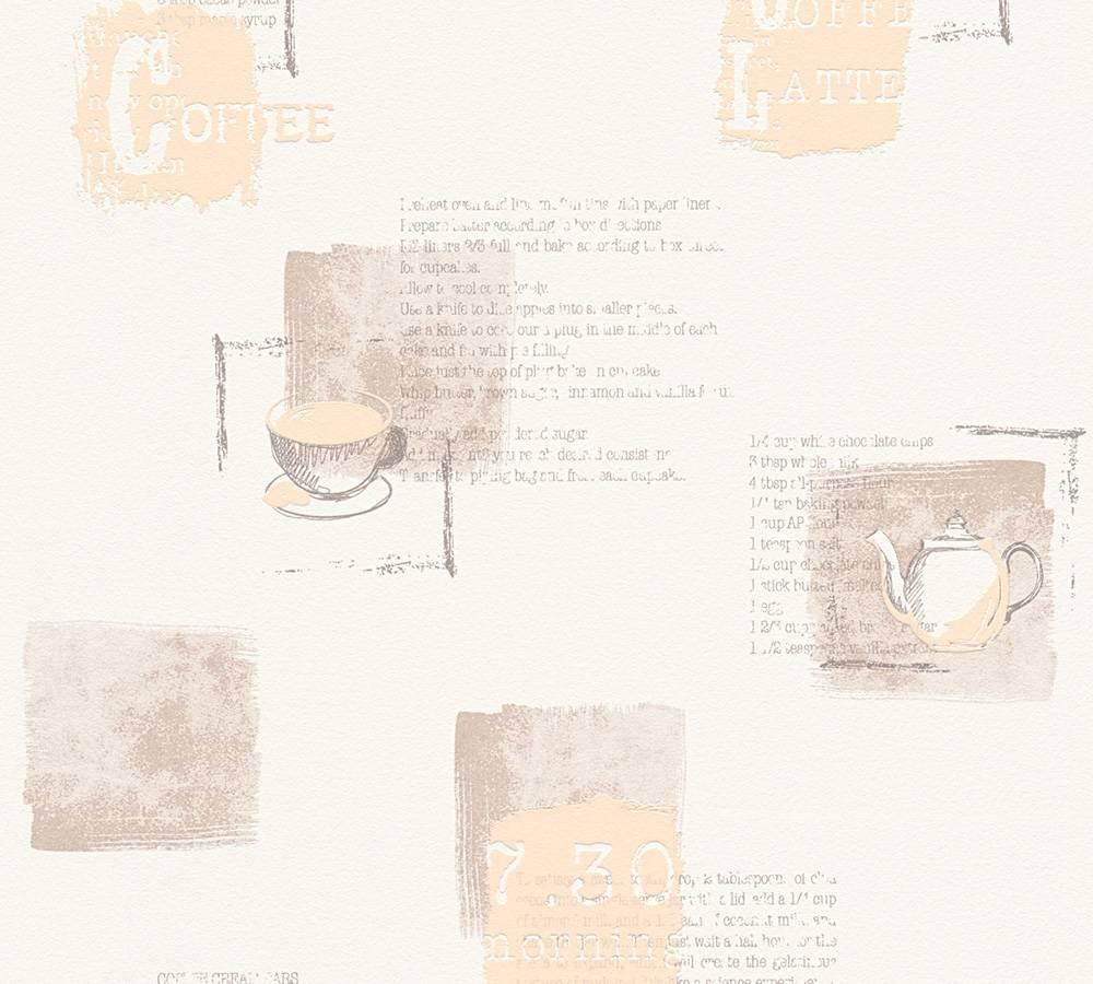 Kitchen wallpaper coffee recipe beige beige 32733 1 for Beige kitchen wallpaper