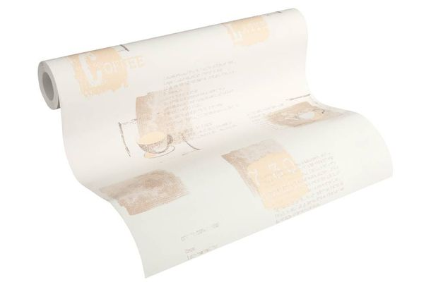 Non-Woven Wallpaper Coffee Recipe white beige 32733-1 online kaufen