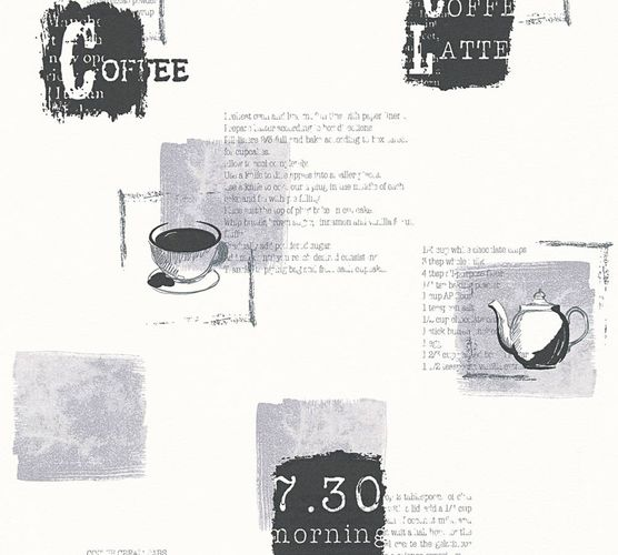 Non-Woven Wallpaper Coffee Recipe white grey 32733-4