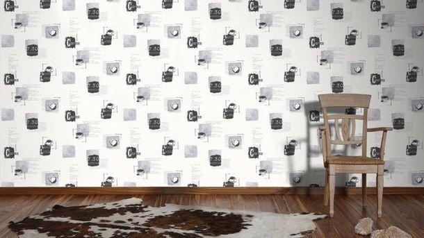 Non-Woven Wallpaper Coffee Recipe white grey 32733-4 online kaufen
