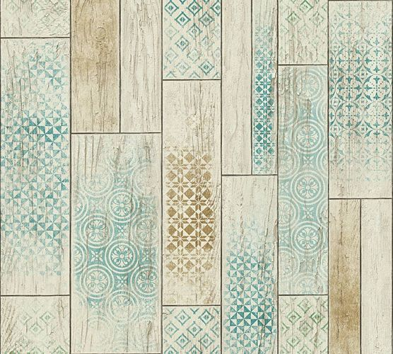 Kitchen Wallpaper ethno wood vintage brown turquoise 33089-2 online kaufen