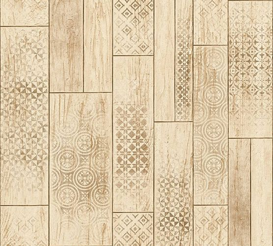 Kitchen Wallpaper ethno wood vintage beige brown 33089-4