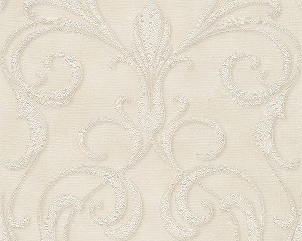 Wallpaper ornaments cream white Gloss Architects Paper 95892-3