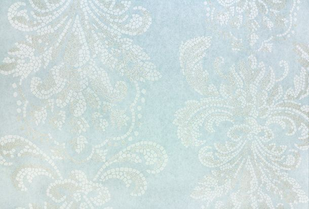 Wallpaper Fuggerhaus baroque mosaic blue Glitter 4789-59