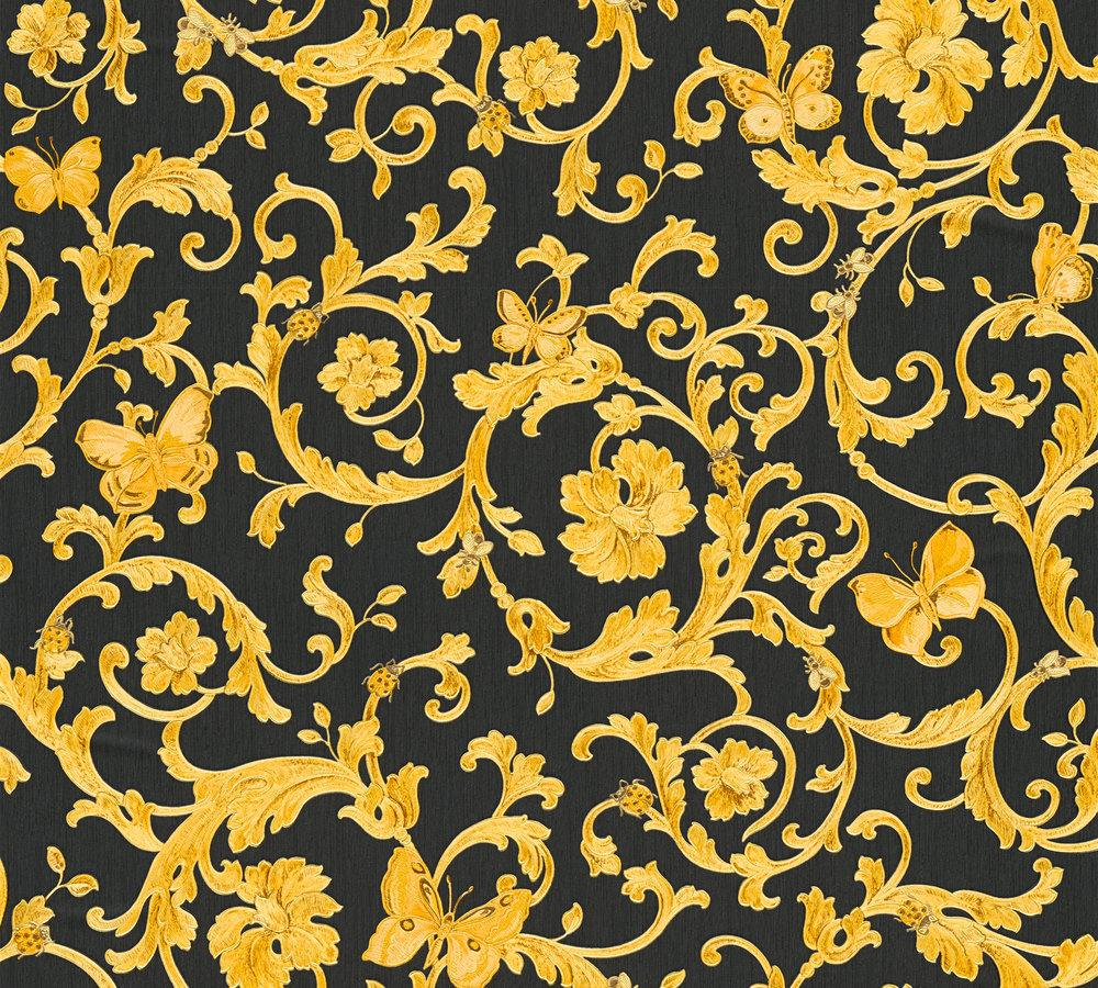 wallpaper versace home tendril black yellow gold glitter. Black Bedroom Furniture Sets. Home Design Ideas