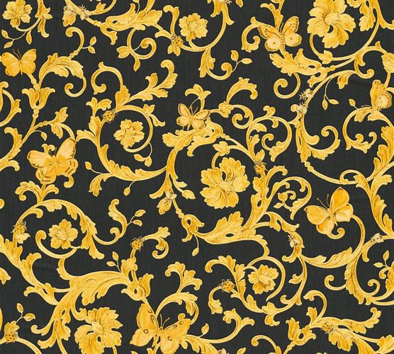 Wallpaper Versace Home tendril black yellow gold glitter 34325-2