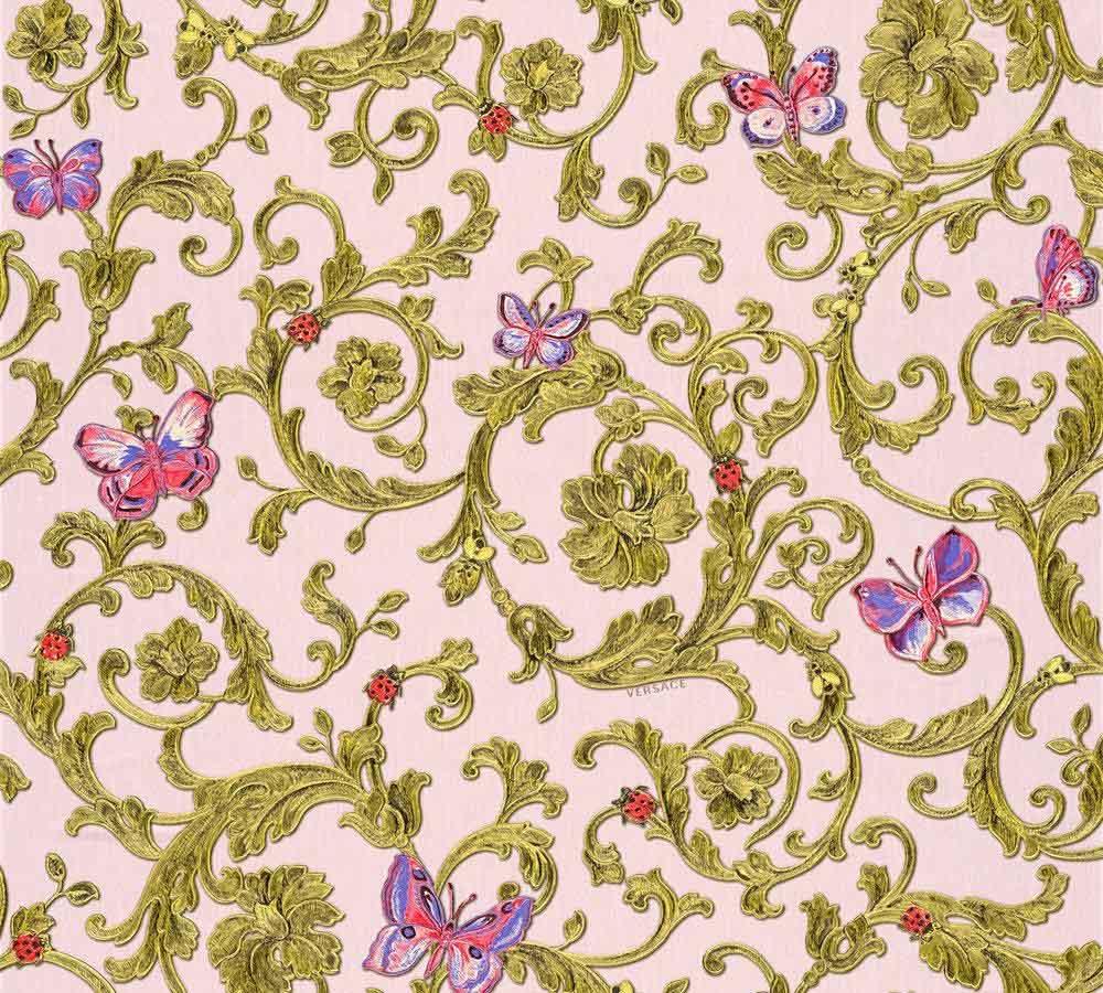 Wallpaper Versace Home Tendril Rose Red Glitter 34325 4