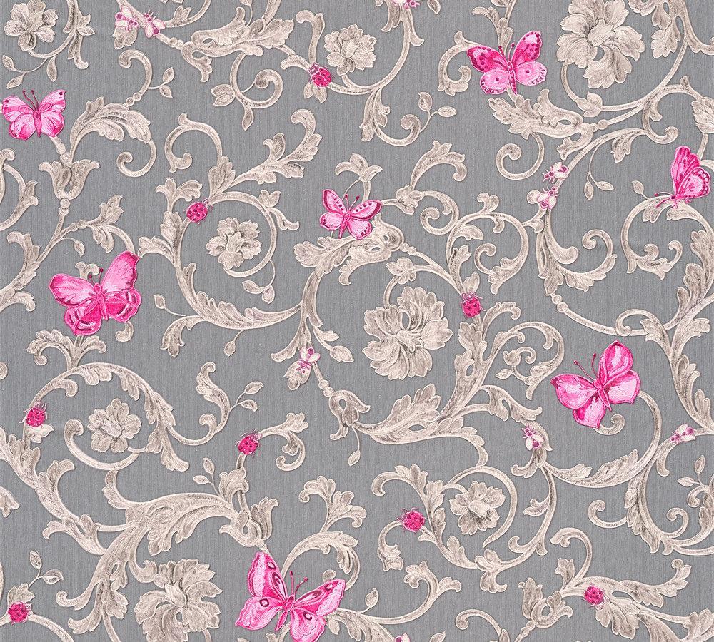 wallpaper versace home tendril grey pink glitter 34325 5. Black Bedroom Furniture Sets. Home Design Ideas