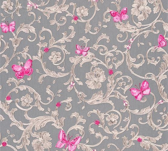 Wallpaper Versace Home tendril grey pink glitter 34325-5