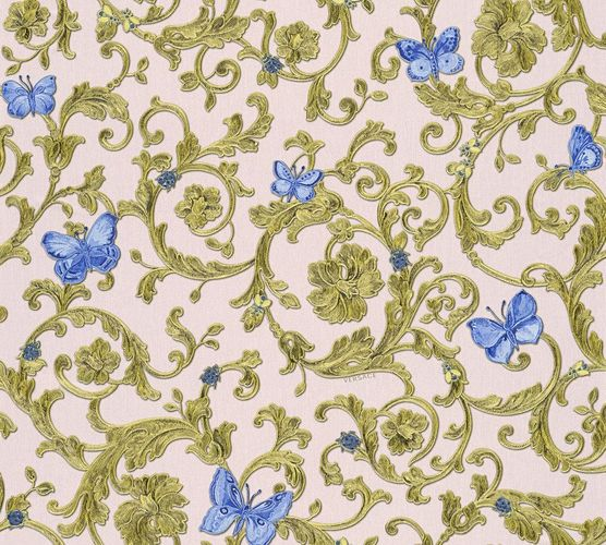 Wallpaper Versace Home tendril rosé blue glitter 34325-6 online kaufen