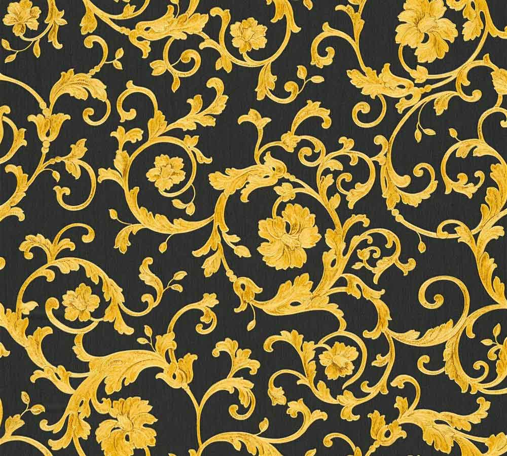 Wallpaper Versace Home Floral Black Gold Glitter 34326 2