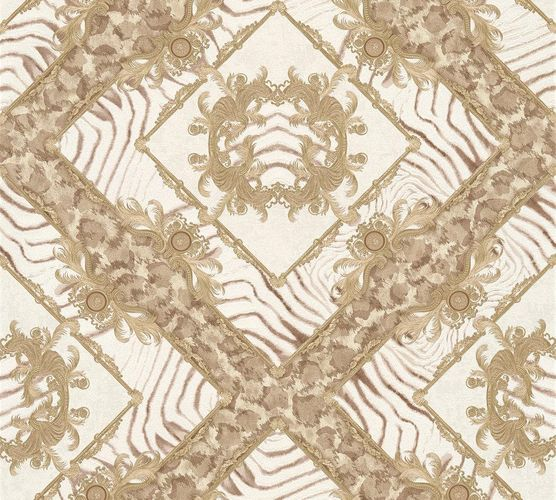 Wallpaper Versace Home zebra ornaments taupe metallic 34904-1