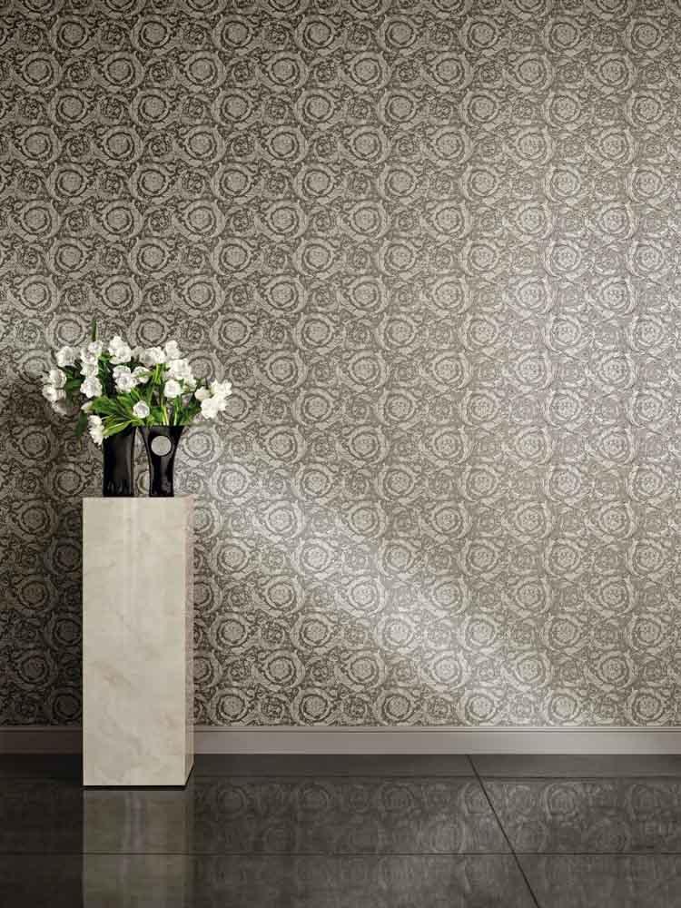 87707ef1522c Wallpaper Versace Home flower grey metallic 93583-6
