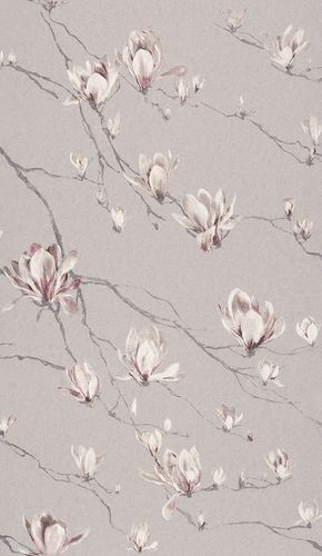 Wallpaper Rasch Textil flower branch light grey gloss 227511 online kaufen