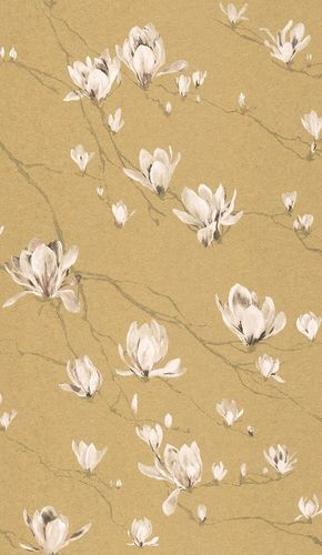 Wallpaper Rasch Textil flower branch gold gloss 227559