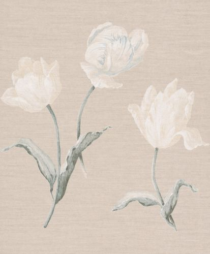 Wallpaper Rasch Textil flower nature cream grey 227573