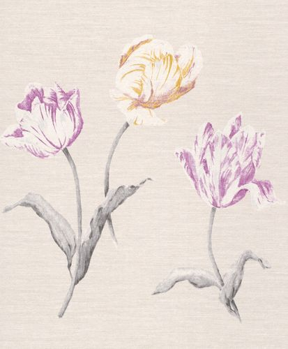 Wallpaper Rasch Textil flower nature grey white 227603