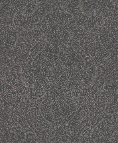 Wallpaper Rasch Textil ornaments anthracite glitter 227849