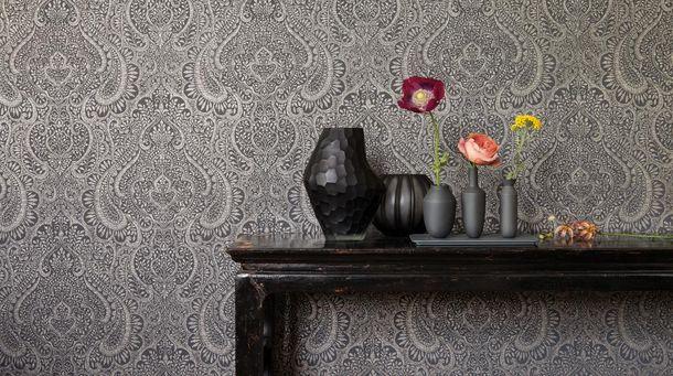 Vliestapete Rasch Textil Ornamente graublau Glanz 227863