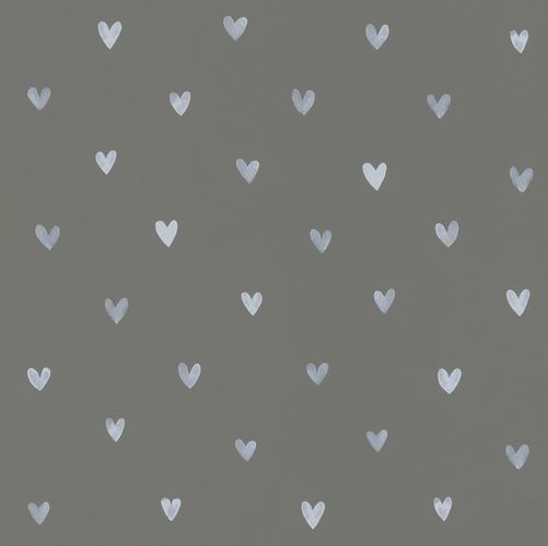 Kids Wallpaper Cute Hearts dark grey white 128832